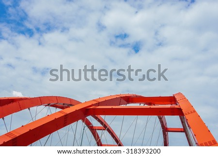 The steel construction of red bridge  - stock photo