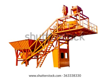 The steel structure of the concrete Batching Plant isolated on white background - stock photo