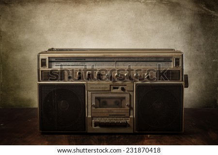 the still life retro ghetto blaster - stock photo