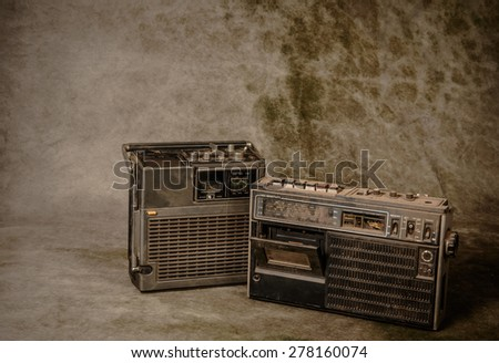 the still life retro ghetto blaster on grunge background - stock photo