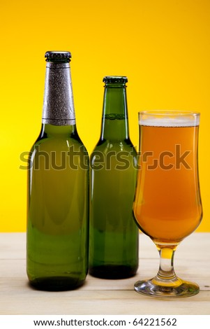 The still life with beer, brown bottle