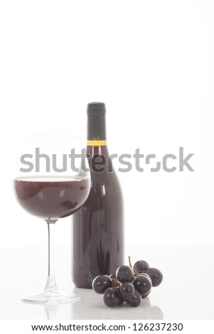the still life with red wine, bottle, glass - stock photo