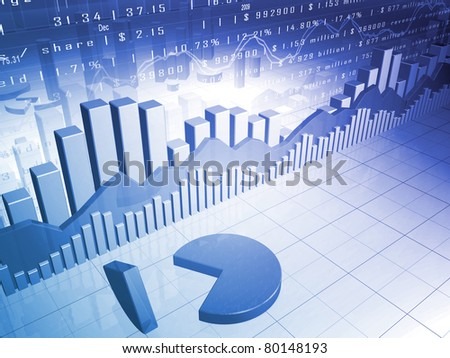 The Stock Market with 3D pie chart and market data - stock photo