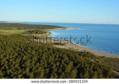 The stone coast on the island of Gotland in the Baltic sea in Sweden during sunrise