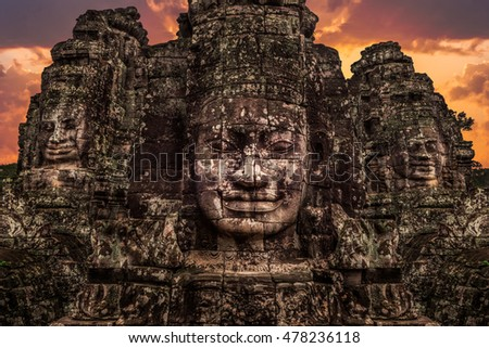 The stone faces of the Bayon in Siem Reap, Cambodia.