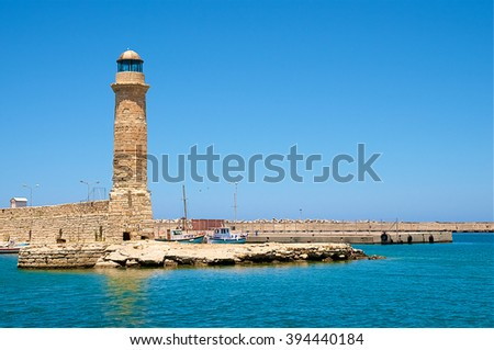 The stone lighthouse of the port of Chania, Creta.