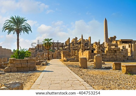The stone ruins of Karnak Temple remember the great times of ancient Egypt, Luxor. - stock photo