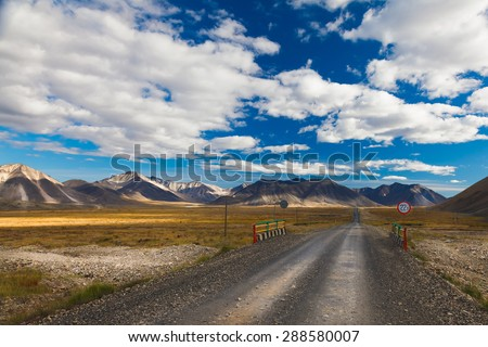 The stones road in Chukotka Tundra, Russia