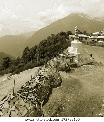 the stones with a buddhist mantras in Tengboche monastery - Nepal, Himalayas (stylized retro) - stock photo