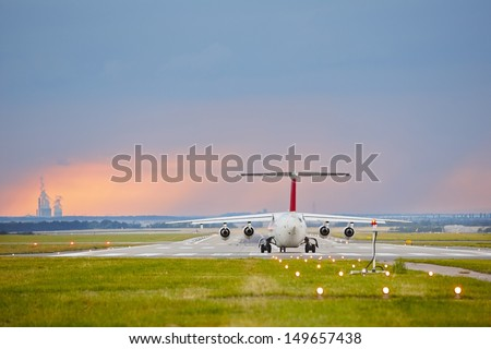 The storm is approaching the airport - copy space  - stock photo
