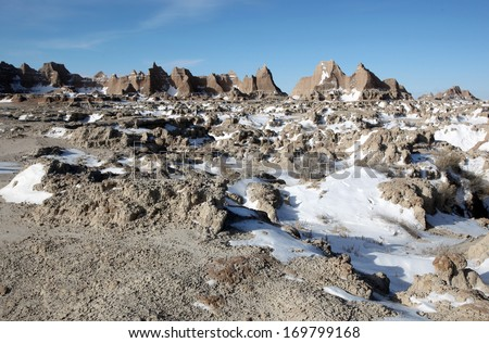 The strange land formations of Badlands National Park, South Dakota, USA - stock photo