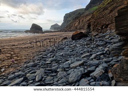 The strangles beach and coastline near Boscastle and Crackington Haven, Cornwall, England.                              - stock photo