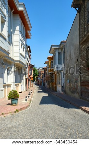 The street of Old Istanbul, Fatih district, Turkey - stock photo