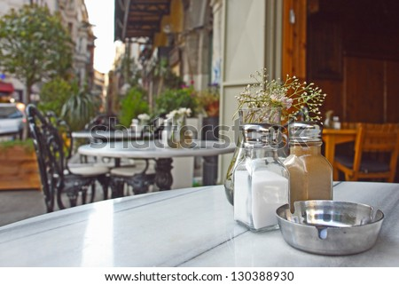 The street scene - cafe in Istanbul. Turkey - stock photo
