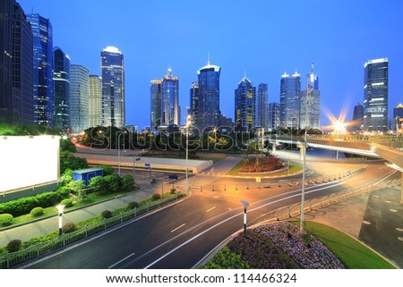 The street scene in shanghai Lujiazui at night,China. - stock photo