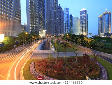 The street scene in shanghai Lujiazui at night,China. - stock photo