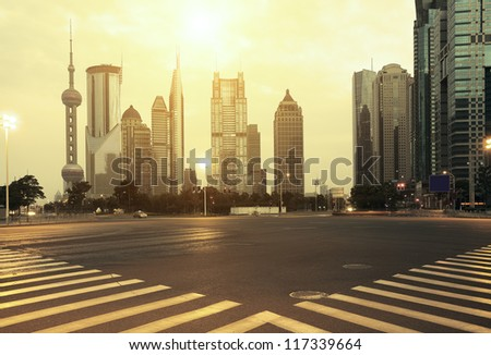 The street scene of the century avenue at lighting in shanghai,China. - stock photo