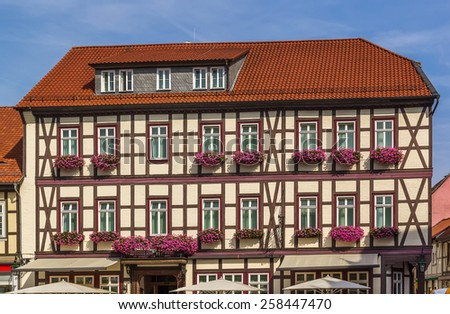 the street with ancient houses in the downtown of Vernigerode, Germany - stock photo