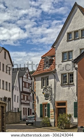 The street with historical houses in Bad Munstereifel, Germany