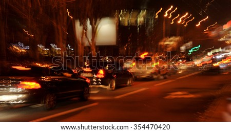 The streets of the city at night