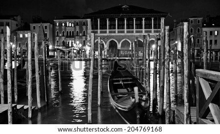 The streets of Venice Long exposure By Night. Blurred motion on curtain due to wind. - stock photo
