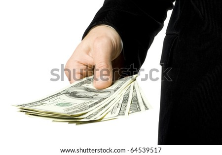 The stretched man's hand with dollars on a white background - stock photo