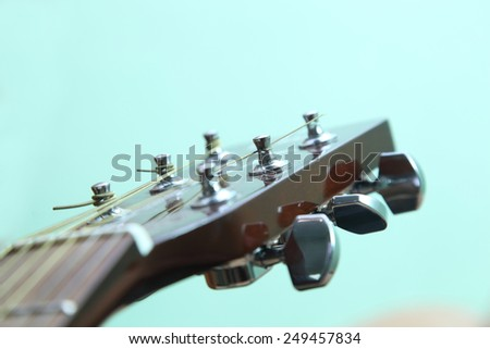 The strings on the guitar macro photo - stock photo