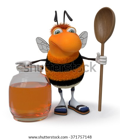The striped insect tries to fly up to depart behind honey/3d picture bumblebee