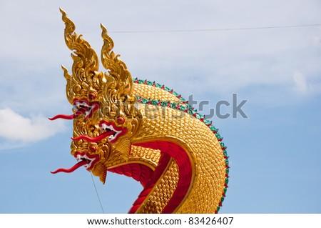 The stucco Phraya Nak - stock photo