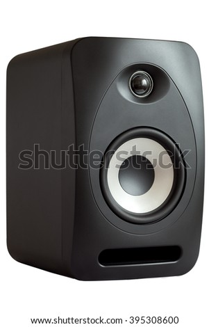 The studio monitor side view on a white background, the isolated image of an acoustic column with the light loudspeaker.