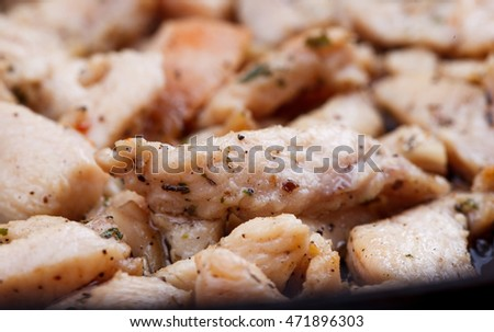 the studio shooting of a fried chicken pieces as backgrund