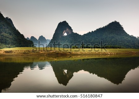 The stunning and unique view in a limestone valley in the province of Cao Bang, Vietnam