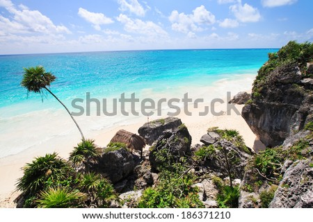 The stunning beach at Tulum, near Cancun, Mayan Riviera, Mexico - stock photo