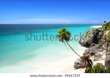 The stunning beach at Tulum, near Cancun, Mayan Riviera, Mexico - stock photo
