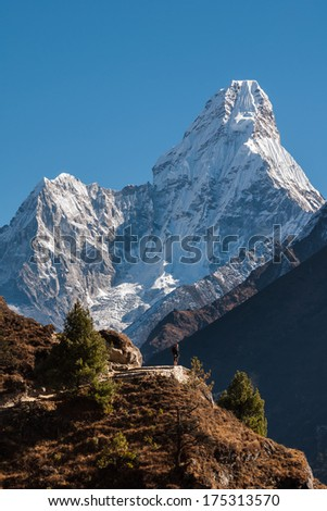 The stunning pyramid of Ama Dablam on route to Everest base camp, Nepal - stock photo