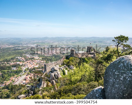 The stunning view of the Castle of the Moors in Sintra, Portugal - stock photo