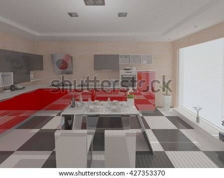 The stylish design of the kitchen with a large window, 3d rendering.