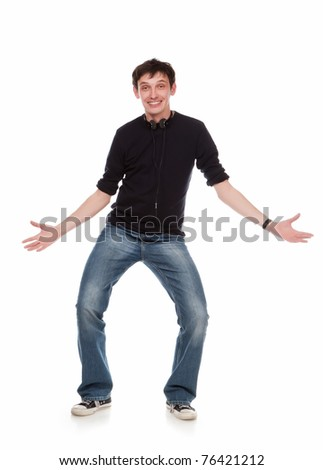 The stylish guy costs on a white background - stock photo