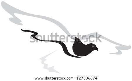 The stylized image of a flying Falcon - stock photo