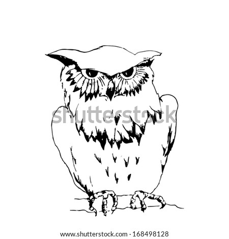 The stylized image of an owl. Monochrome. Can be used as logo or bookplate.