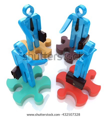 The successful agreement in the design of information related to a business meeting. 3d illustration - stock photo