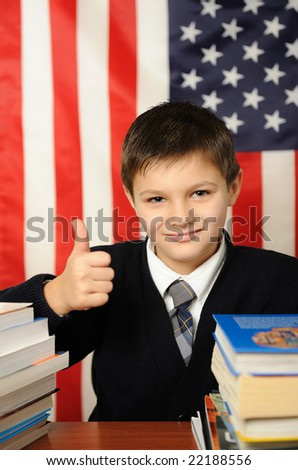 The successful schoolboy - stock photo