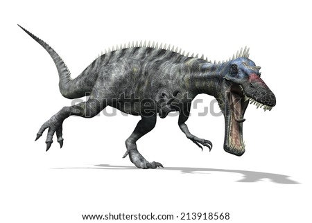 The Suchomimus was a dinosaur that lived in Africa during the Cretaeous Period. - stock photo