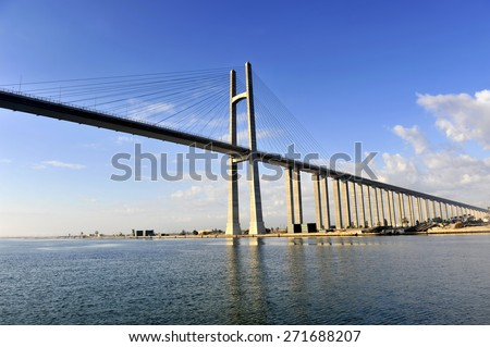 The Suez Canal Bridge, also known as the Shohada 25 January Bridge, Egyptian-Japanese Friendship Bridge, Al Salam Bridge, Al Salam Peace Bridge or Mubarak Peace Bridge