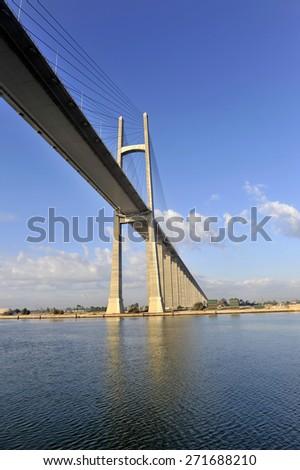 The Suez Canal Bridge, also known as the Shohada 25 January Bridge, Egyptian-Japanese Friendship Bridge, Al Salam Bridge, Al Salam Peace Bridge or Mubarak Peace Bridge - stock photo