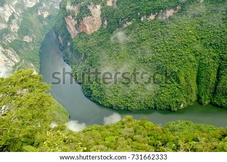 The Sumidero Canyon National Park, deep natural canyon located north of the city of Chiapa de Corzo in the state of Chiapas, in southern Mexico
