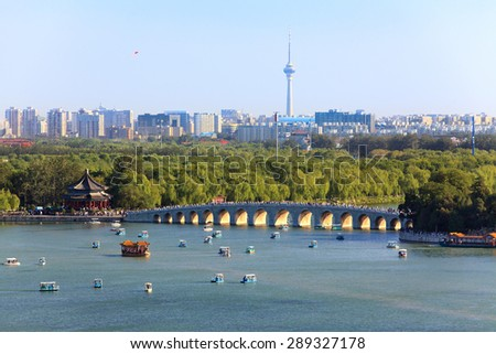 The Summer Palace and Beijing cityscape. China - stock photo