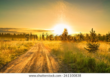 the summer rural landscape with sunrise  and the road - stock photo