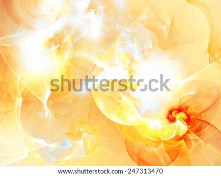 The summer sun in clouds. Abstract artistic background with lighting effect. Bright flash in futuristic sky. Shiny template for wallpaper desktop, poster, cover booklet, flyer design. Fractal artwork - stock photo