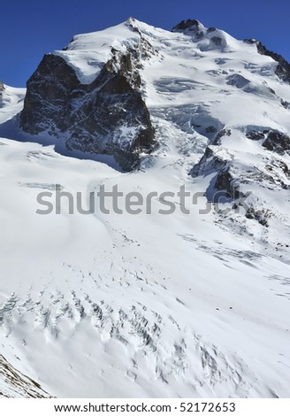 The summit of the Monte Rosa (Mont Rose) seen from the north in the swiss alps above zermatt.